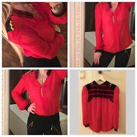 H&M Damen Chiffon Bluse Top Schwarz Rot Michael Jackson T-Shirt Rar XS 32-34