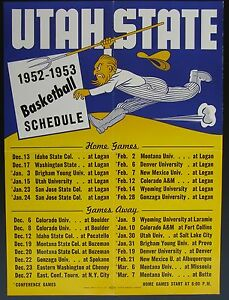 1952-53  Utah State College Basketball Schedule Poster