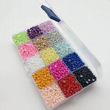 1 Box 15 Colors 10000pcs Half Pearl Bead 4mm Flat Back Gem Craft DIY Beads
