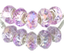 violet AB 5pcs MURANO Crystal bead LAMPWORK fit European Charm Bracelet #D518