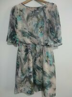 Spotlight By WAREHOUSE Dress Grey Turquoise Abstract Size 10 Tunic Skater Girl