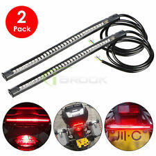 "2PCS 48 LED 8"" Motorcycle Strip Tail Running Brake Stop Turn Signal Light Bar"