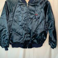 Embroidered Bomber Satin Black Men's XXL Blue Lined Zip Vintage USA Jacket