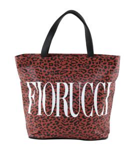 NWT Fiorucci Red Leopard Tote Bag Messenger Bag Faux Leather Vintage Dead Stock