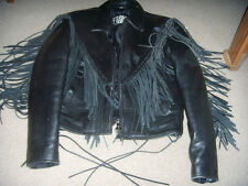 LADIES LEATHER Motorcycle Jacket w/Fringe &VEST Conchos & Roses Ladies M&XS VEST