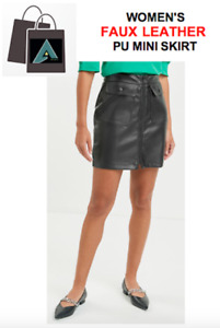 ✅  Women's Black *Faux Leather* PU Mini Skirt with Pockets (Sizes Available) ✅