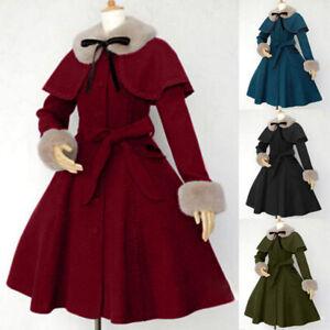 Medieval Renaissance Victorian Women Fur Collar Cloak Coat Halloween Costumes