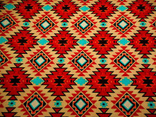 Southwestern Fabric By The Yard Aztec Rust Black Turquoise Tan Orange Cotton