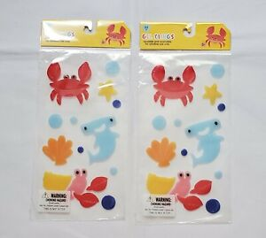 2x Summer Under The Sea Gel Window Clings 22 Count Each, Reusable & Washable!A28
