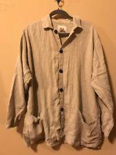 FLAX 100% Linen Tunic Jacket front big pockets long sleeve beige gray stripe M