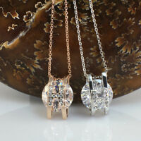 Made With Swarovski Crystals Pendant/Necklace,Silver Toned/Rose Gold GP