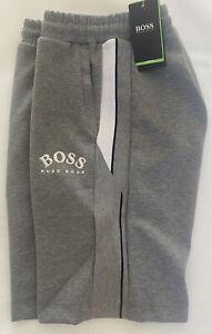 HUGO BOSS 'CURVED LOGO' JOG SHORTS - GREY/WHITE - MEDIUM - BIG%%
