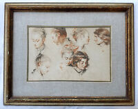 """Vintage 1960's High Quality Print of Antoine Watteau's Drawing """"Study of Heads"""""""