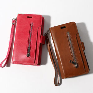 PU Leather Zipper 9 Cards Wallet Stand Case Magnetic Cover For Samsung Phones