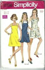 Simplicity Sewing Pattern 8196, Vintage Dress and Pantdress, Size 14