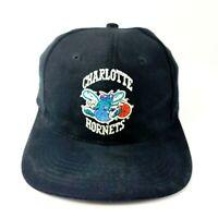 Vintage 90s Charlotte Hornets Snapback Hat Cap Sports Specialties Black Suede