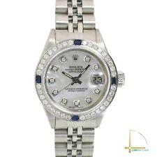 Reloj De Acero 26mm Rolex Dama Datejust Madre de Perla Blanco Diamante Zafiro Dial Bisel
