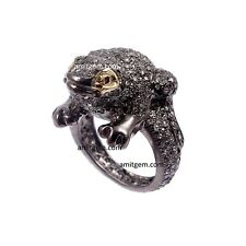 925 Sterling Silver Frog Shape Rose cut Diamond Ruby Victorian Vintage Ring 119