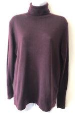 Women's HOBBS 100% Merino Wool Burgundy Polo Neck Jumper Size Medium