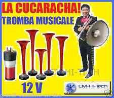 TROMBE PNEUMATICHE TUNING MUSICALI SUONO LA CUCARACHA 5 CORNETTI !! 12V PER AUTO