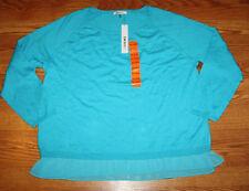 NWT Womens DKNY Turquoise Crew Neck Thin Knit Sweater Size M Medium
