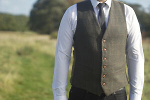 Mens Milano Tweed Waistcoat Check S to 3XL Vintage Tailor Fit