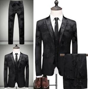Men's Suits Jacquard 3 Piece Suit Slim Fit Royal Black Tuxedo Wedding Dresses