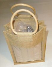 Straw Wine Bottle Carrying Bag w/Large Wooden Handles 100% Jute Free Shipping!