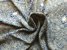 """Crepe Dress Scarf Making Fabric in Navy Blue & Cream Abstract Design 50""""L x46""""W"""