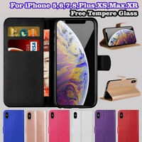 For iPhone 6 7 8 5S SE Plus XS Max Flip Wallet Leather Case Cover Magntic Luxury