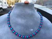 Fuchsia Pink and Turquoise Blue Round Glass Bead Short Necklace