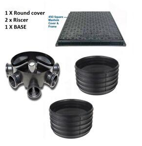 Amazon Civils 450mm Inspection Chamber Manhole  Base, 2 Riser, SQ Cover & Frame
