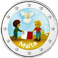 Malta 2 Euro 2017 Frieden Von Kindern mit Solidarität in Farbe