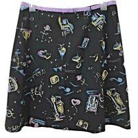 Rafaella womens skirt Size 14 knee length black floral scenery heart purple