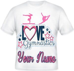 GIRLS KIDS Sublimation Top Personalised Love Gymnastics Dance T Shirt !