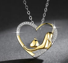 Gold Heart Cat Pendant 925 Sterling Silver Necklace Chain Jewellery Womens Gifts