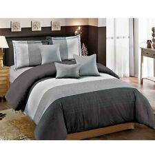 7 Pcs Luxury Microfiber Bedding Comforter Set Bed In A Bag Queen Size, Seam Grey