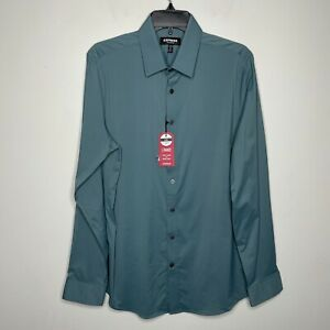 EXPRESS Slim Fit Performance Dress Shirt NWT Green Stretch Mens Medium M 15-15.5