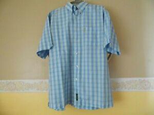 "Vintage BEN SHERMAN SHIRT. Blue Check Short Sleeve. Size 3 Large (44/46"" Chest)"