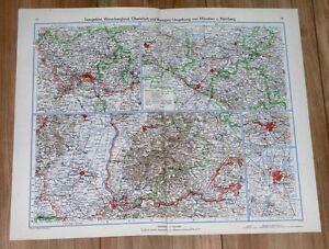 1943 VINTAGE MAP OF BADEN ALSACE MULHOUSE FREIBURG BREISGAU SAARBRÜCKEN GERMANY