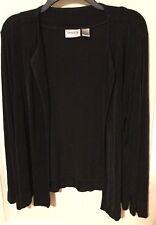 Chico's Travelers black slinky shrug Size 3 drape open front CAREER long sleeves
