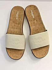 New COACH Size 9 Womens Spruce Slide Sandals Leather White Logo