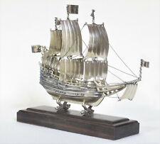 Vintage Dutch Silver Nef Miniature Model Sailing Ship