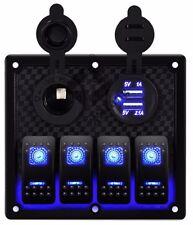 4 Gang USB Waterproof LED Automotive Toggle Switch Panel Car Marine Boat Rocker