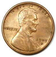 1909-S VDB Lincoln Wheat Cent Penny 1C - Choice AU / UNC Detail - Rare Key Date!