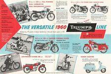 1960 Triumph Motorcycles - 4-Page Color Vintage Motorcycle Ad / Brochure
