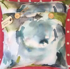 """Handmade cushion cover Voyage """"Rosa"""" (duckegg) cotton/linen blend (floral)"""