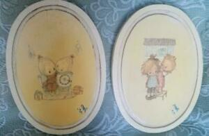 1973 Betsy Clark Decoupage Oval Wall Decor Pictures Hangings Signed Folk