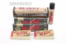 AUTHENTIC RAW BLACK ROLLING PAPER KING SIZE BUNDLE ROLLER+PAPERS+TIPS+Lighter