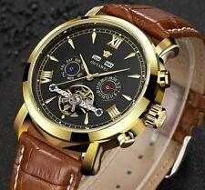 Mens Flywheel Leather Wrist Skeleton Automatic Mechanical Watch